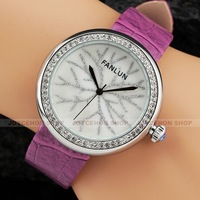Charm Women Lady Snow Shell Dial Purple Leather Band Dress Dinner Quartz Wrist Watch Gift Q804