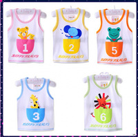2014 Summer Kids Sleeveless Vest 5 Colors Chose Children Cotton Cartoon Tees 1-3 Years Free Shipping