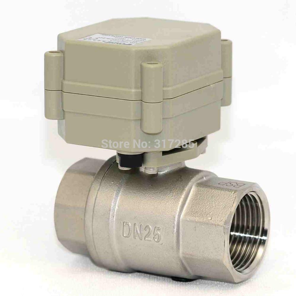 dn25 1 39 39 2way dc5v ss304 ball valve electric water shut off valves in. Black Bedroom Furniture Sets. Home Design Ideas