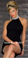 863 2013 women new fashion 4 colors shining stand collar sexy halter clubwear dress party evening elegant dresses S M