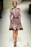 Free Shipping 2014 Spring Autumn Runway Fashion Three Quarter Sleeves Vintage Flower Print Dresses Woman