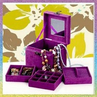 [cosmetic boxes]Free shippping 1PCE South Korea three square wooden jewelry box jewelry boxes, cosmetic box, princess