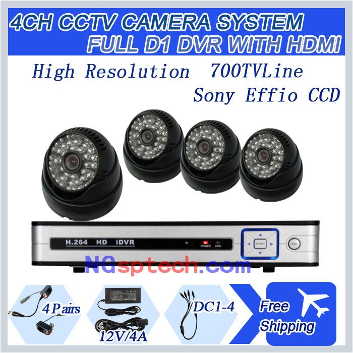 Система видеонаблюдения NGtechnic 4pcs SONY CCD 700 h.264 4CH D1 cctv HDMI DVR 6304+D626S700BB+RJ*4+4A h view cctv dvr 4ch h 264 ahd dvr nvr 4ch digital video recorder for cctv 1080p hdmi video output support analog ahd ip camera