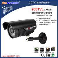 "Hot sales!1/4"" CMOS 900TVL camera 36 pcs blue LED IR day night dual use outdoor weatherproof metallic housing CCTV Color Camera"