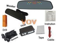 Free shipping!Car LED parking sensor mirror rader Auto Reverse Backup Radar Detector System+ 4 rader NO.306