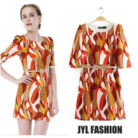 JYL FASHION 2014 Spring/Summer New arrival geometric print lovely fashion mix color woman dresses,half sleeve ladies dress belt