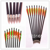 24pcs hunting bow crossbow  fiberglass  arrow  archery  hunter hunting arrow steel arrow head broadheads tips fixed