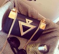 2014 Women Bag Fashion Triangular Diamond Chain Bag Women Messenger Bag Free Shipping