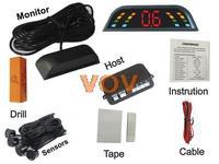 Free shipping!Car LED Parking Sensor Monitor Auto Reverse Backup Radar Detector System + 4 rader NO.303