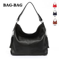 Women HOBO Large capacity Genuine Leather handbag Fashion Real Cowhide/skin shoulder bag girl/ladies black Tassel wholesale B300