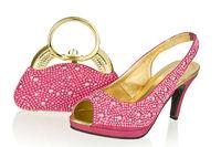 Free shipping new ladies fashion shoes with matching evening bag in fushia pink,Italian woman wedding shoe and clutch SB8786