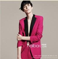 Women Blazer New 2014 WOMEN  Fashion Long Sleeve Casual Suit Jacket S-L 3 Size Rose red Jackets