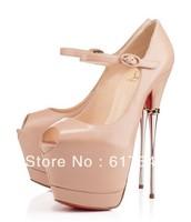 2014 New Fashion Women Sexy Red Sole 16cm Metal Heel Peep Toe High Heel Ladies Party High Platform Pumps