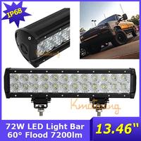 New 12V/24V led working light 72w led offroad lamp, driving truck lighting car flood beam 13.46inch car light free shipping