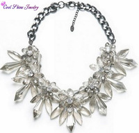 Fashion Jewelry Women Choker Necklace Crystal Flowers Pendants& Necklace Chunky Chain Wedding Necklace High Quality 3 Colors