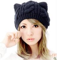 2013 Fashion Korean Women Lady Devil Horns Cat Ear Crochet Braided Knit Ski Beanie Wool Hat Cap Winter Warm Beret