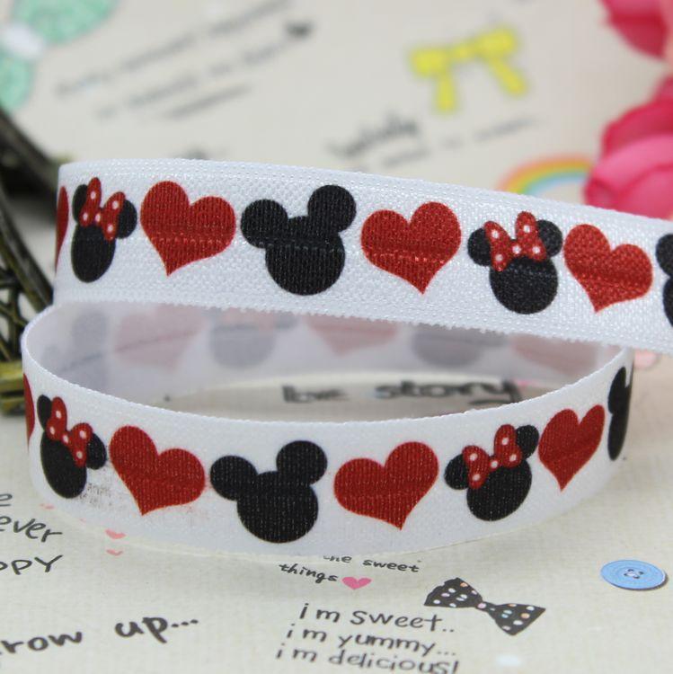 5/8 inch Free shipping Fold Over Elastic FOE MICKEY MINNIE printed ribbon headband diy decoration wholesale OEM B096(China (Mainland))