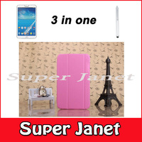 3 in one 1 Pc/lot Flip Book Cover Smart Case With Sleep-Wake+ Screen Protector + Stylus For Samsung Galaxy Tab 3 8.0 T310 T311