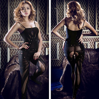 2014 Hot Sale Sling Type Self Perspective Open Crotch Clothes Slim Jumpsuits Leotard Party Club Sexy Cloth Free Shipping U11084