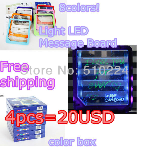 2014 kids toy Cheap Writing Sign Display Light LED Message Board / Word Pad Size: 225x200x22mm(China (Mainland))