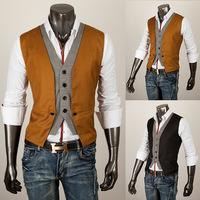 New Arrival Fashion Chaleco Men Plaid Faux Two Piece Male Slim Vest Male Tank Tops Mens Suit Vest Free Shipping