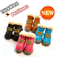 Fashion Small Dog Poodle Shoes  Winter Warm PU material + Floss Pet Booths Cat Shoes  Free Shipping
