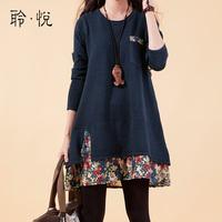 autumn women's loose plus size patchwork wool knit dress autumn women's top sweater one-piece dress