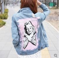 Dropshipping 2014 autumn winter Korean women fashion ripped jean jacket Monroe printe denim jackets outwear HOT SALE JA10001