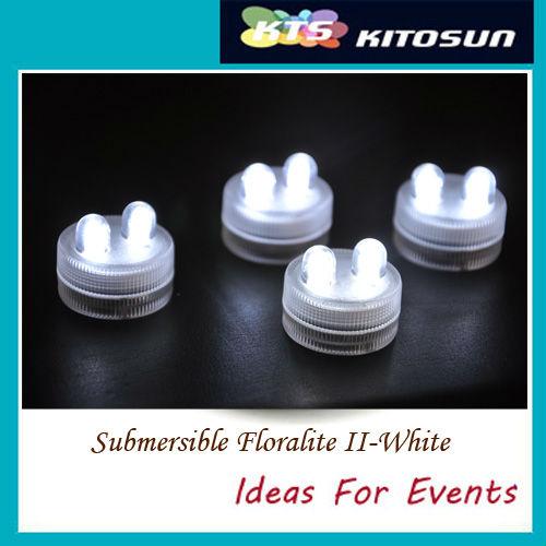 Free shipping!!! Sale 100pcs/pack LED AMBER DOUBLE SUBMERSIBLE Floralyte II Lights Wedding decor waterproof candle led light(China (Mainland))