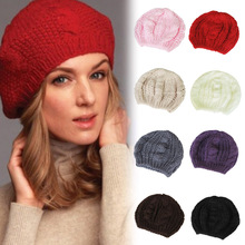 New Women's Fashion Warm Winter Beret Braided Baggy Beanie Hat Ski Cap 8colors(China (Mainland))