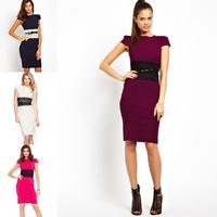 summer dress 2014 European New Fashion Women formal Elegant Knee Length sheath Autumn Bodycon slim Casual with Belt