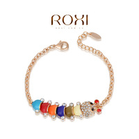 fashion Jewelry The cute carpenterworm charm bracelet for women, rose gold / yellow gold plated,set with zircon crystal,ROXI