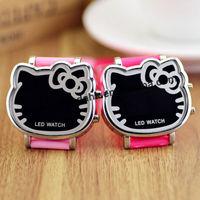 50pcs/lot Hot Sale Hello Kitty LED Digital Sport Watch New Hello Kitty LED Watch Students Wristwatches Girl Boy Watches