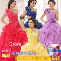 2014 neww arrival Free Shipping purple dress costume puff design long design one shoulder wedding dress
