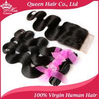 "Queen Hair 1 Piece Lace Top Closure with 3Pcs Hair Bundle,4pcs/lot,Brazilian Virgin Hair Extension,Body Wave 12""-28"" DHL Free"