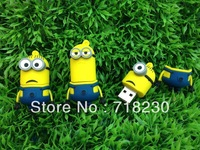 Free Shipping Nice pen drive cartoon toy Minions flash drive 8GB 16GB 32GB 64GB USB 2.0 Memory Stick usb flash disk