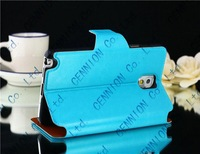Card Slot Leather Stand Wallet Cover + Screen protector for Samsung Galaxy note 3 N9000 100pcs/lot CE102003