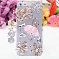 Sachet ballet girl Rhinestone flower phone shell case for iphone5 phone bag case for iphone5s phone Bumper