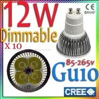 Free shipping 10 pcs Dimmable Cree 12W 9W GU10 MR16 E27 B22 E14 GU5.3 high power LED Spotlight downlight lamp bulb light