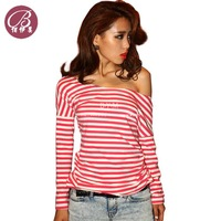 New Brand European style sexy striped boat neck shirt Long sleeve Slim tops Free shipping