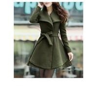 2013 Plus Size Thickening Charming Woolen Turn-Down Collar Belt Embellished Pelpum Top Long Sleeves Slimming Overcoat For Women