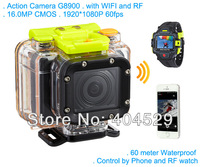 Ambarella A7 Camera G8900 with WIFI control and RF 16MP sensor 1080P 60fps 60 meters waterproof VS Gopro Hero3 Black Edition
