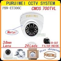"100% Original 1/4"" CMOS 700TVL 24leds with IR-CUT Filter 960H IR 20M white Metal CCTV Outdoor/indoor Dome camera. Free shipment."
