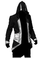 Assassins Creed III Connor/Conner Kenway Hoodie Costume Jacket Coat Black Silver