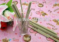 Wholesale 500pcs Wedding Birthday Party  Supplies Colorful Paper Drinking Straws With Gold Wavy 82.BLgold