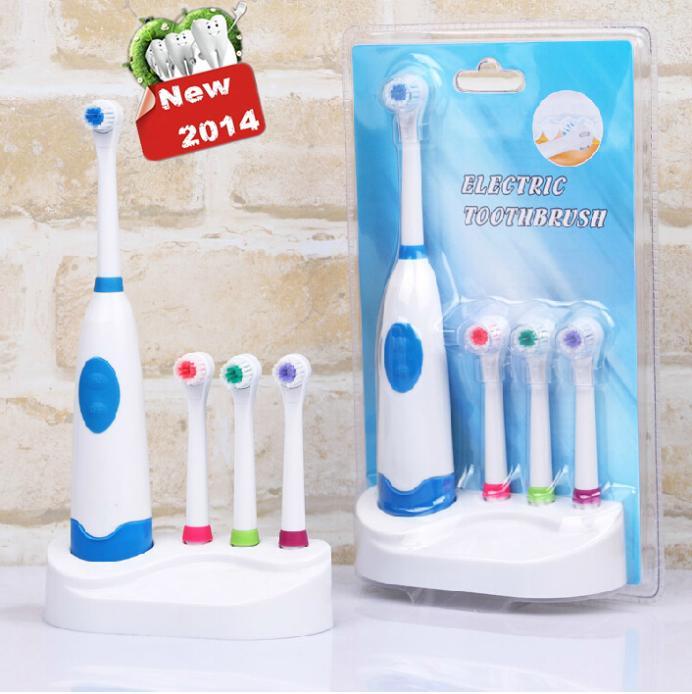 Lowesr preis neuen design elektrische zahnbürste wasserdicht revolvierenden zahnbürste + 3 Düsen versandkostenfrei Mundhygiene Zahnpflege