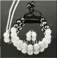Free P&Pnew fashion Shamballa bracelet cute bracelets&necklace&earing handmade white jewelry sets shambhalla