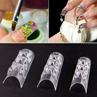 500Pcs cheap Half Cover False Fake Nails Mosaic Tips Nail Art Clear Natural natural French Manicure Artificial Nails Salon