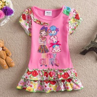 Retail NEAT Kids 2014 New Free shipping 18M/6Y 5pieces /lot cartoon girls fold 100% cotton embroidery bowknot dress S2126 #