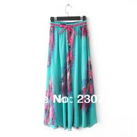 Bohemian Women 2014 Spring Summer Newest Chiffon Printed Skirts Wholesale National Wind Pleated Full Length Bust Skirt FZ 115